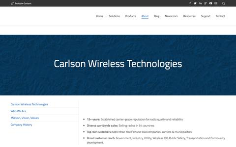 Screenshot of About Page carlsonwireless.com - About Carlson Wireless Technologies - captured Dec. 3, 2015