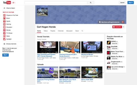 Screenshot of YouTube Page youtube.com - Carl Hogan Honda  - YouTube - captured Oct. 26, 2014