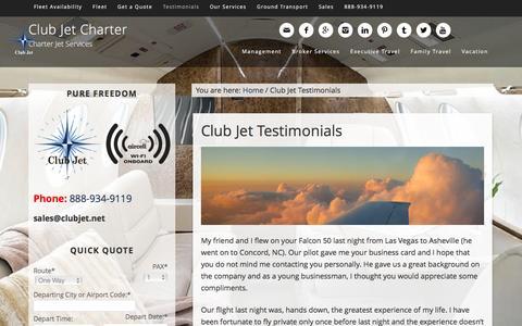 Screenshot of Testimonials Page clubjetcharter.com - Club Jet Testimonials - Club Jet Charter - captured Dec. 9, 2015