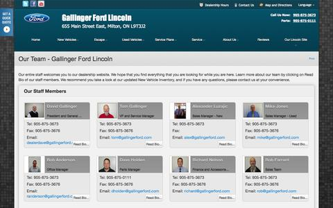Screenshot of Team Page dealerconnection.com - Our Team at Gallinger Ford Lincoln - Your Milton, Ontario Ford dealer - captured Sept. 19, 2014
