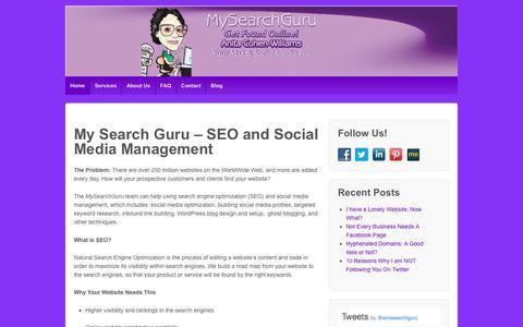 Screenshot of Home Page mysearchguru.com - MySearchGuru: Organic SEO and Social Media Management - captured Dec. 8, 2016
