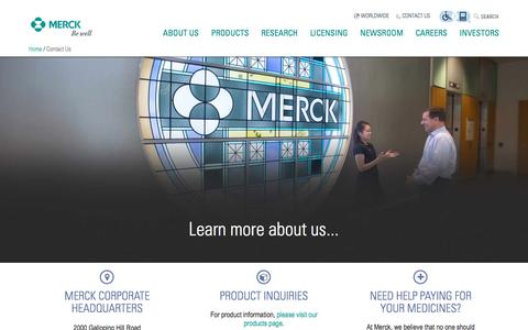 Screenshot of Contact Page merck.com - Merck.com | Contact Us - captured Dec. 22, 2016