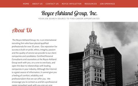 Screenshot of About Page royceashlandgroup.com - About Us   Royce Ashland Group, Inc - captured Oct. 19, 2018