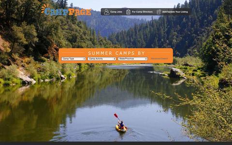 Screenshot of Home Page camppage.com - Summer Camps2015 | Summer Camp Programs | Summercamps at CampPage.com - captured Sept. 24, 2014
