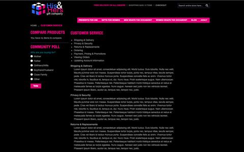 Screenshot of Support Page hisandhersgiftcompany.co.uk - Customer Service - captured Sept. 30, 2014