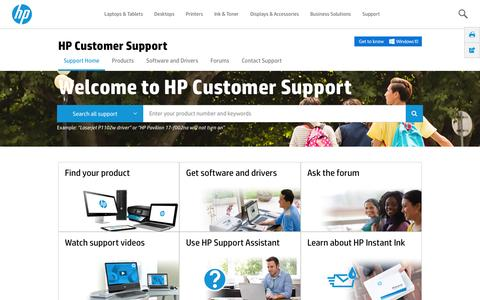 Screenshot of Support Page hp.com - HP Customer Support | HP® Customer Support - captured March 30, 2016