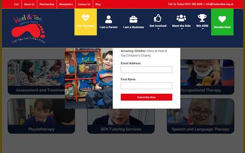 Screenshot of Services Page heelandtoe.org.uk - Services - Heel & Toe Childrens Charity - captured Sept. 28, 2018