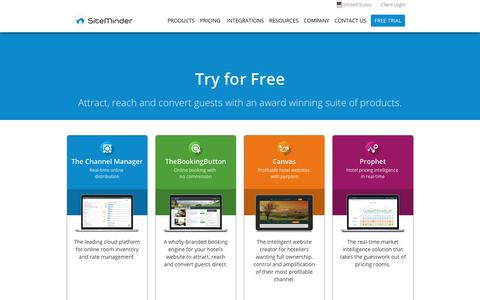 Screenshot of Trial Page siteminder.com - Products Free Trial - SiteMinder - captured Aug. 16, 2017