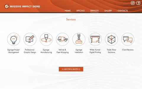 Screenshot of Services Page massiveimpact.ca - Services - Massive Impact Signs - captured Nov. 27, 2016