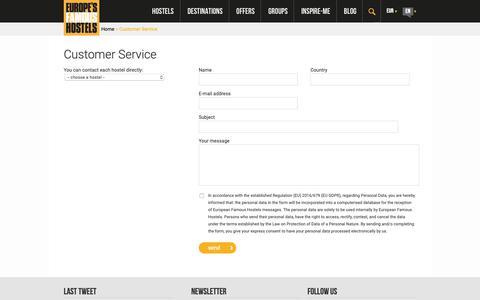 Screenshot of Support Page famoushostels.com - Customer Service | Europe Famous Hostels | Youth Accomodation Association - captured Sept. 29, 2018