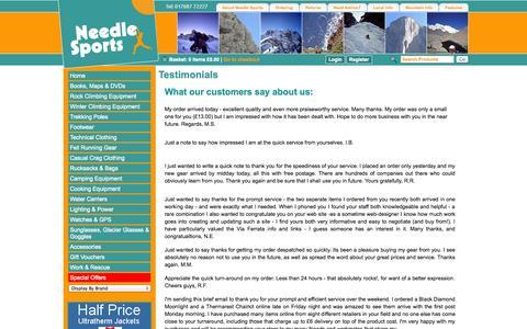 Screenshot of Testimonials Page needlesports.com - Needle Sports - captured Oct. 31, 2014