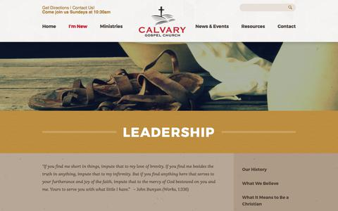Screenshot of Team Page calvarygospel.ca - Calvary Gospel Church: Beamsville, Ontario > Leadership - captured July 12, 2017