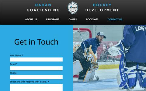 Screenshot of Contact Page dahanhockey.ca - Contact Us - Dahan Goaltending - captured Nov. 13, 2018