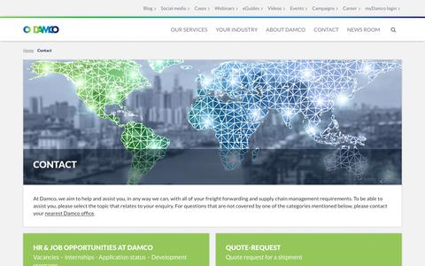 Screenshot of Contact Page damco.com - Contact Damco for help with your freight forwarding and supply chain management - captured Nov. 8, 2018