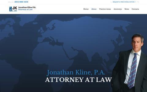Screenshot of About Page jklawfl.com - Bankruptcy   Foreclosure Defense   Jonathan Kline, P.A. - captured Feb. 11, 2016