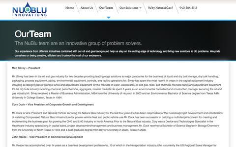 Screenshot of Team Page nubluinnovations.com - NuBlu Innovations - Our Team - captured Oct. 26, 2014