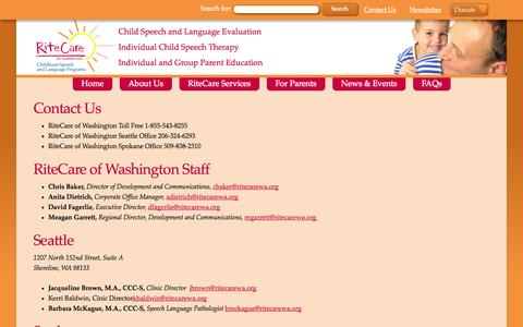 Screenshot of Contact Page ritecarewa.org - Contact Us - RiteCare of Washington - captured Oct. 26, 2014