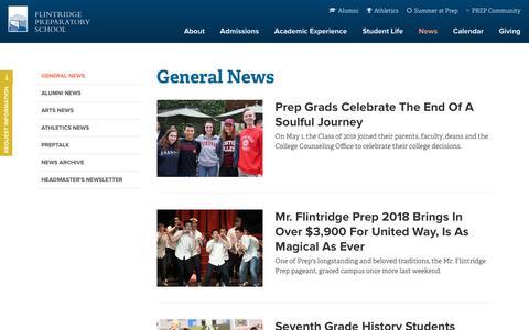 Screenshot of Press Page flintridgeprep.org - Flintridge Prep: General News - captured July 13, 2018