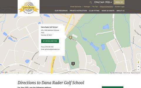 Screenshot of Maps & Directions Page danarader.com - How To Get To Dana Rader Golf School - captured Feb. 8, 2016