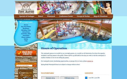 Screenshot of Hours Page fortrapids.com - Hours of Operation :: Waterpark  :: Fort Rapids Indoor Waterpark Resort :: Columbus, Ohio - captured Oct. 6, 2014