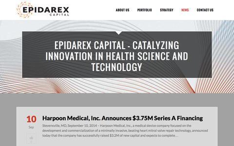 Screenshot of Press Page epidarex.com - Epidarex |   News - captured Oct. 2, 2014