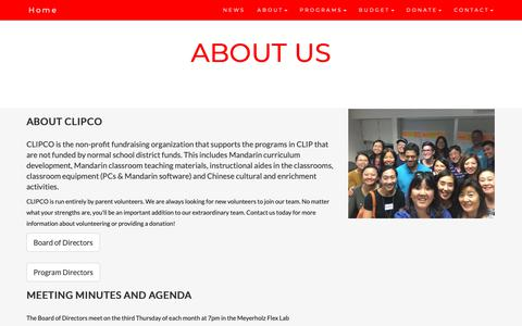 Screenshot of About Page cusdclipco.org - CLIPCO - About Us - captured Nov. 11, 2018