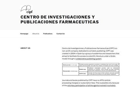 Screenshot of About Page cipf-es.org - About Us – Centro de Investigaciones y Publicaciones Farmaceuticas - captured March 20, 2018