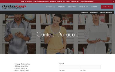 Screenshot of Contact Page datacapsystems.com - Integrated Payments - Contact us - captured Feb. 17, 2019