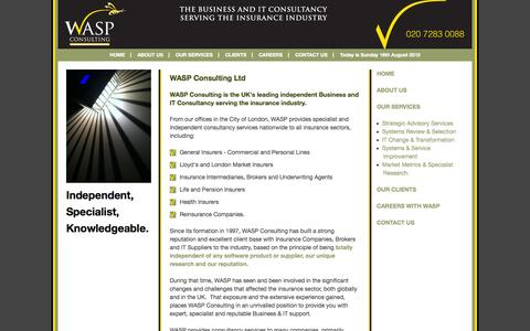 Screenshot of Home Page waspconsulting.co.uk - The Business & IT Consultancy serving the Insurance Industry - captured Aug. 16, 2015