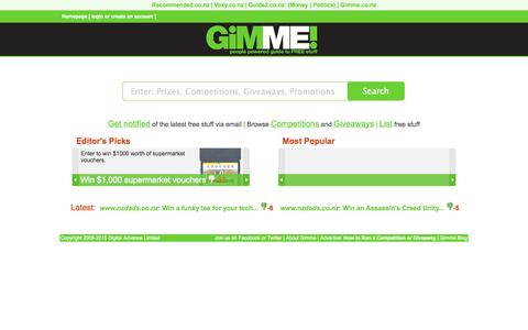 Screenshot of Home Page gimme.co.nz - Gimme.co.nz Competitions and Giveaways - captured Jan. 28, 2015