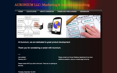 Screenshot of Jobs Page auronium.com - Careers - AURONIUM LLC: Marketing & business consulting - captured Oct. 4, 2014