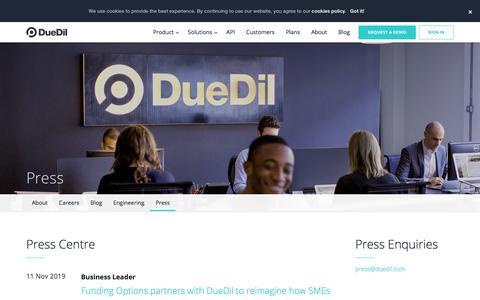 Screenshot of Press Page duedil.com - Press    DueDil - captured Jan. 19, 2020