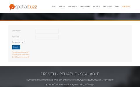 Screenshot of Login Page spatialbuzz.com - Login - captured Oct. 9, 2014