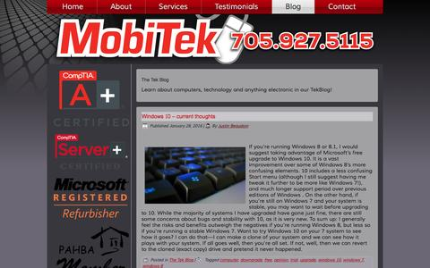 Screenshot of Blog mobitek.ca - The Tek Blog | MobiTek Mobile Computer Support - captured Feb. 14, 2016