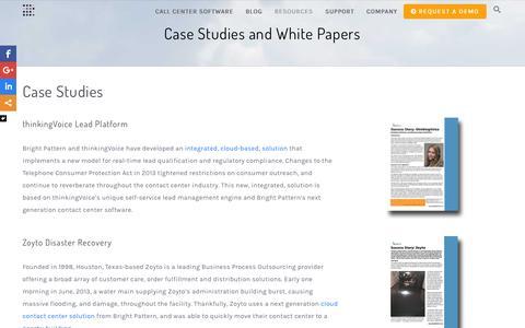 Screenshot of Case Studies Page brightpattern.com - Cloud Contact Center Case Studies | Bright Pattern - captured Feb. 8, 2016