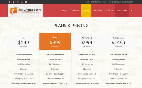 Screenshot of Pricing Page 365chatsupport.com - Plans & Pricing | 365ChatSupport - Managed Live Chat Outsourcing | Hire Live Chat Agents | USA & Dubai. - captured Oct. 7, 2014