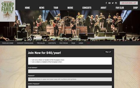 Screenshot of Signup Page tedeschitrucksband.com - Join - captured Dec. 12, 2018