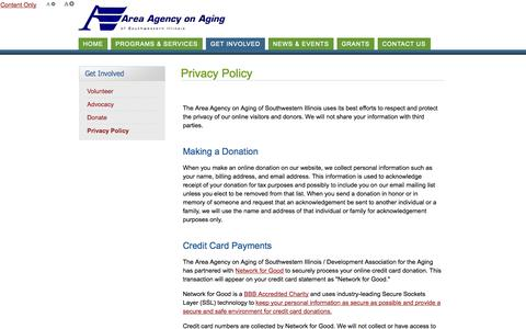 Screenshot of Privacy Page answersonaging.com - Area Agency on Aging of Southwestern Illinois Protects the Privacy of Online Visitors & Donors - captured Oct. 4, 2014