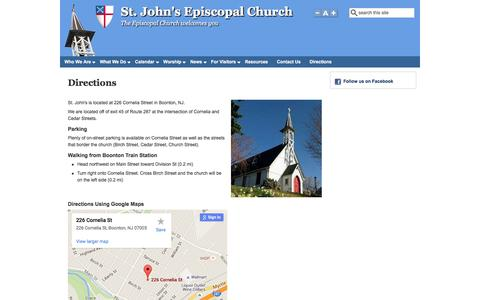 Screenshot of Maps & Directions Page stjohnsboonton.org - Directions | St. John's Episcopal Church - captured June 22, 2016
