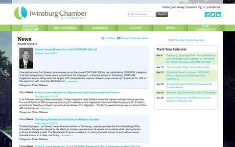 Screenshot of Press Page twinsburgchamber.com - News - Twinsburg Chamber of Commerce, OH - captured Feb. 28, 2016
