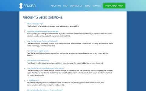 Screenshot of FAQ Page sensibo.com - sensibo - FAQ - captured Oct. 28, 2014