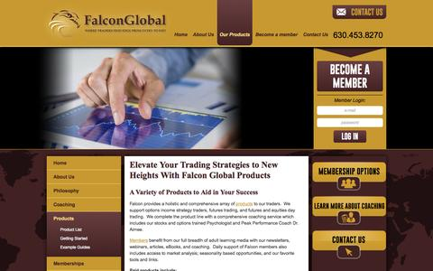 Screenshot of Products Page falconglobaltraders.com - Products for Stock Trading Strategies and Futures Trader  | Falcon Global - captured Oct. 5, 2014