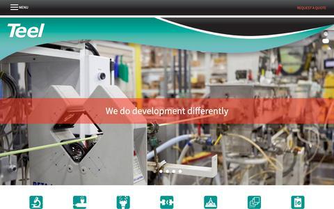 Screenshot of Home Page teel.com - Teel Plastics - captured Oct. 20, 2018