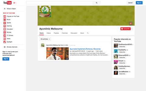 Screenshot of YouTube Page youtube.com - Ayurclinic Melbourne  - YouTube - captured Oct. 23, 2014