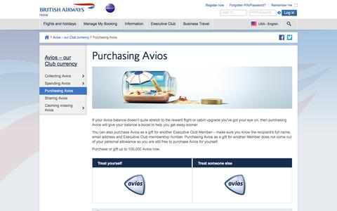 Executive Club - Purchase Avios - British Airways