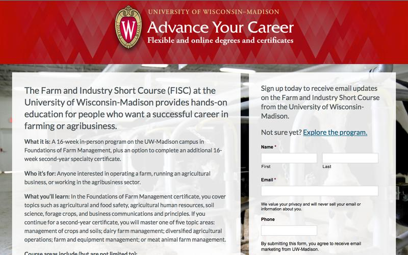 The Farm and Industry Short Course (FISC) at the University of Wisconsin-Madison aw | Advance Your Career