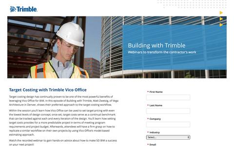 Screenshot of Landing Page trimble.com captured Oct. 23, 2016