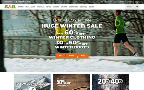 Screenshot of Home Page sail.ca - SAIL Outdoor : More than 500 brands for camping, hunting, fishing and clothing  | SAIL - captured Jan. 22, 2016