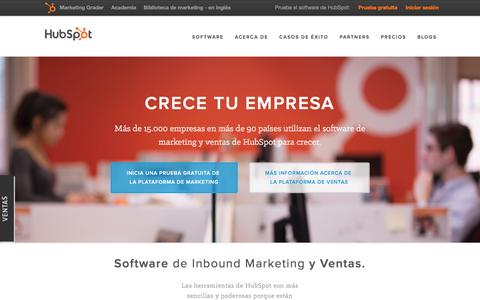 Screenshot of Home Page hubspot.es - HubSpot | Software Todo-en-uno para Inbound Marketing - captured March 2, 2016
