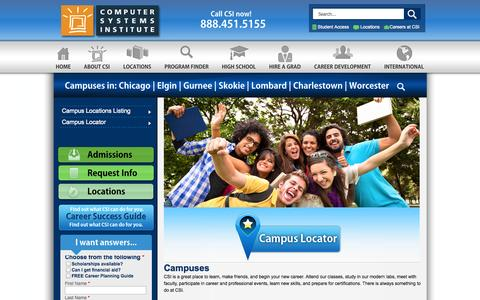 Screenshot of Locations Page csinow.edu - Campuses in: Chicago | Elgin | Gurnee | Skokie | Lombard | Charlestown | Worcester | Computer Systems Institute - captured Sept. 19, 2014